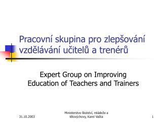 Pracovní skupina pro zlepšování vzdělávání učitelů a trenérů