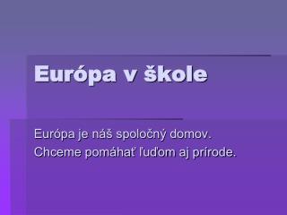 Európa v škole