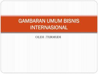 GAMBARAN UMUM BISNIS INTERNASIONAL