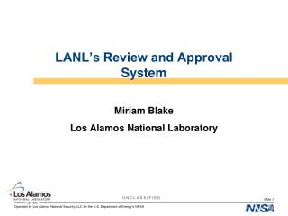 LANL's Review and Approval System
