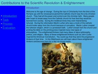 Contributions to the Scientific Revolution & Enlightenment