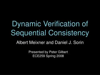 Dynamic Verification of Sequential Consistency