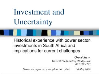 Investment and Uncertainty