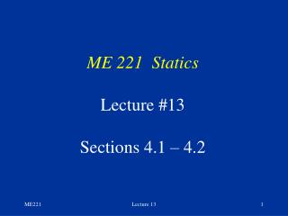 ME 221  Statics Lecture #13 Sections 4.1 � 4.2