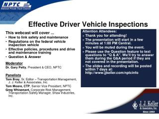 Effective Driver Vehicle Inspections