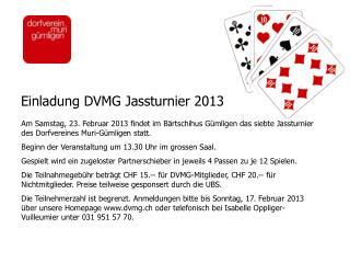 Einladung DVMG Jassturnier 2013