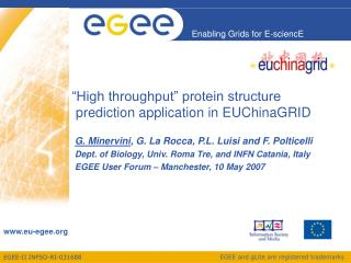 """High throughput"" protein structure  prediction application in EUChinaGRID"