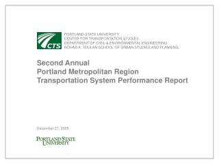 PORTLAND STATE UNIVERSITY 	CENTER FOR TRANSPORTATION STUDIES