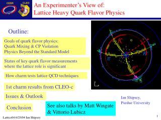 An Experimenter�s View of: Lattice Heavy Quark Flavor Physics