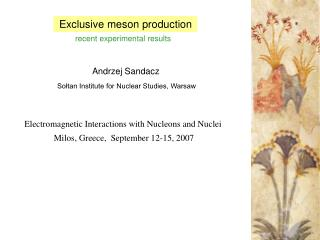 Exclusive meson production