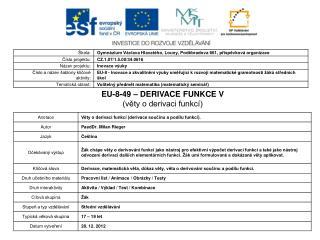 EU-8-49 – DERIVACE FUNKCE V (věty o derivaci funkcí)