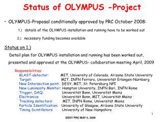 Status of OLYMPUS -Project