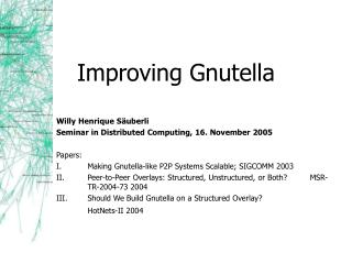 Improving Gnutella
