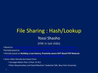 File Sharing : Hash/Lookup