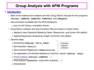 Group Analysis with AFNI Programs