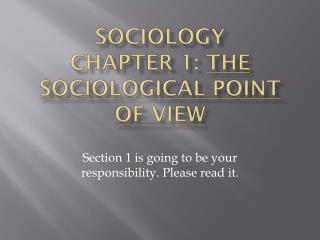 Sociology Chapter 1:  The Sociological Point of View