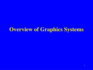 Overview of Graphics Systems