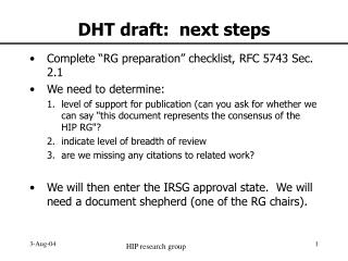 DHT draft:  next steps