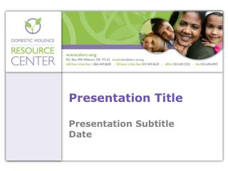 Presentation Title Presentation Subtitle Date