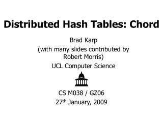 Distributed Hash Tables: Chord