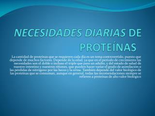 N ecesidades diarias  de proteínas