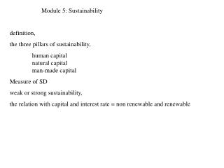 Module 5:  Sustainability