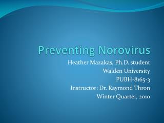 Preventing  Norovirus