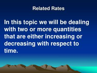 Related Rates