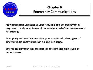 Chapter 6 Emergency Communications
