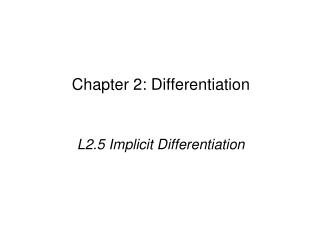 Chapter 2: Differentiation
