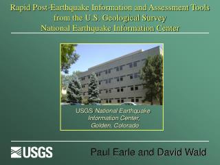 USGS  National Earthquake  Information Center,  Golden, Colorado