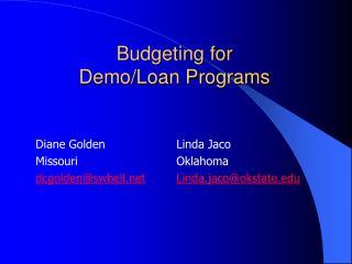 Budgeting for  Demo