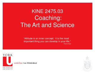 KINE 2475.03 Coaching:  The Art and Science