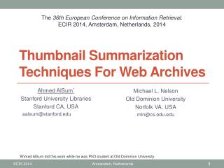 Thumbnail Summarization Techniques For Web Archives