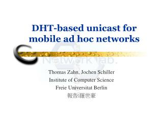 DHT-based unicast for mobile ad hoc networks