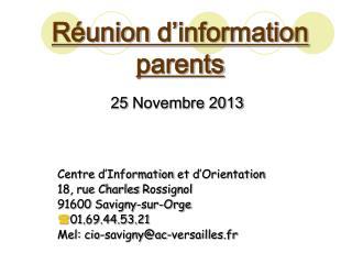 Réunion d'information  parents