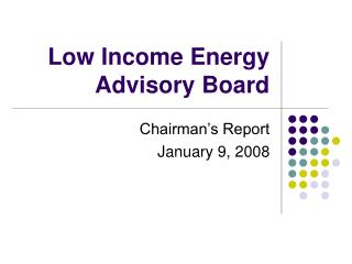 Low Income Energy Advisory Board