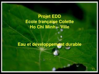 Projet EDD  Ecole française Colette  Ho Chi Minh – Ville Eau et développement durable