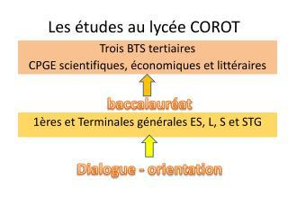 Les études au lycée COROT