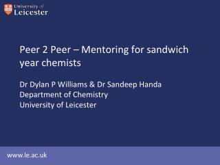 Peer 2 Peer – Mentoring for sandwich year chemists