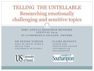 TELLING  THE UNTELLABLE Researching emotionally challenging and sensitive topics