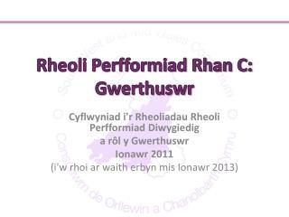 Rheoli Perfformiad Rhan C: Gwerthuswr