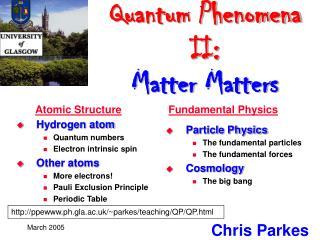 Quantum Phenomena II: Matter Matters