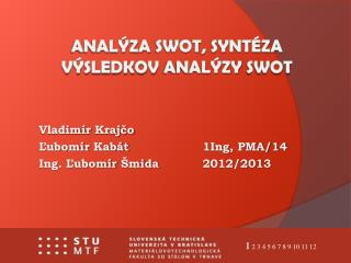 ANAlýza swot ,  syntéza výsledkov analýzy swot