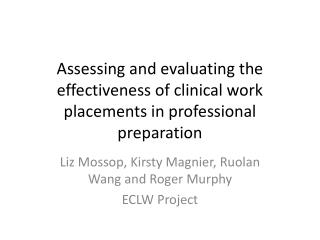 Assessing and evaluating the effectiveness of clinical work placements in professional preparation