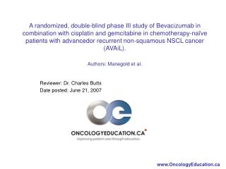 Reviewer: Dr. Charles Butts Date posted: June 21, 2007