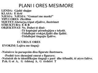 PLANI I ORES MESIMORE
