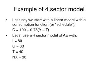 Example of 4 sector model