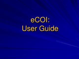 eCOI : User Guide