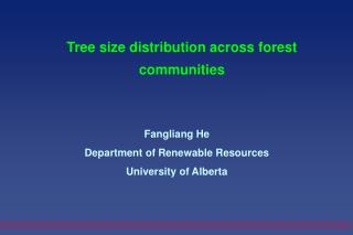Tree size distribution across forest communities